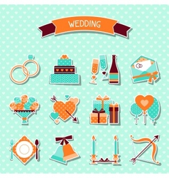Set of retro wedding icons and design elements vector