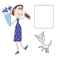 Mum and cat vector