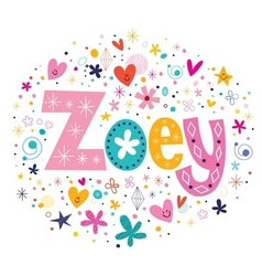 Zoey female name decorative lettering type design vector