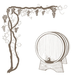 Grapevine and barrel vector