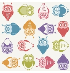 background with colorful owls vector image