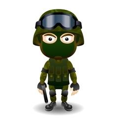 Soldier gun pistol military character combat black vector image
