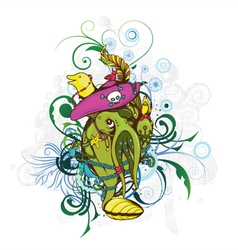 Funny monsters with floral vector
