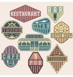 Set of vintage labels with places of food and vector