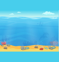 Cartoon sea bottom background for game design vector