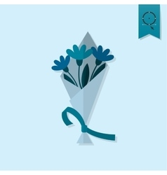Bouquet of flowers with ribbon vector