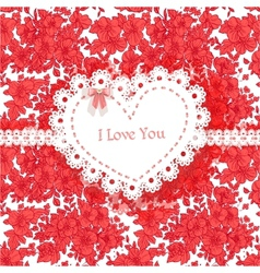 Beautiful Valentine card of wild scarlet flowers vector image vector image