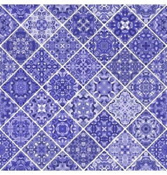 Blue patchwork tile design vector