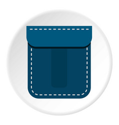Blue pocket icon circle vector