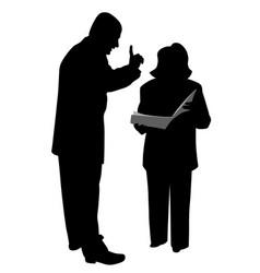 Boss giving order or warning female employee vector