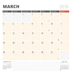 Calendar planner for march 2018 design template vector