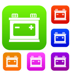 Car battery set collection vector