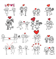 cartoon hand-drawn love vector image vector image