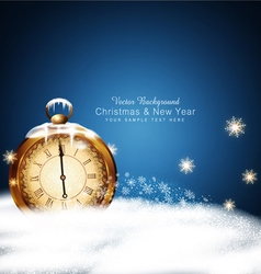 Christmas background with old clocks snow snowflak vector