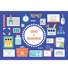 Concept of coding and programming with equipment vector image