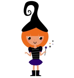 Cute beautiful witch isolated on white vector