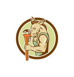 Donkey plumber monkey wrench circle retro vector