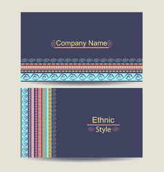 Ethnic business card template vector