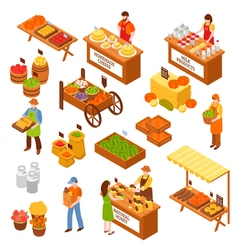 Farmers Marketplace Isometric Set vector image