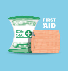 First aid ice gel and gauze medicine tools vector