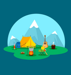 Flat camping concept vector