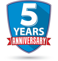 Flat design 5 years anniversary label with red vector
