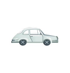 Flat side view grey sedan car covered with snow vector