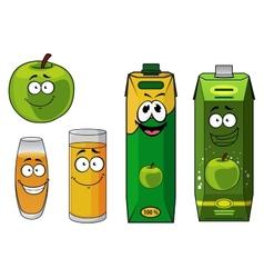 Fresh cartoon apple with apple juice vector image