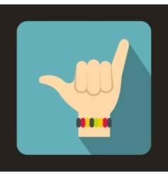 Gesture surfer icon flat style vector