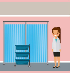 Hospital ward doctor with drawers and curtain vector