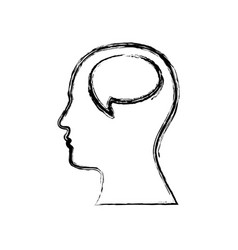 Monochrome sketch of silhouette human face with vector