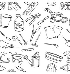 Objects in backyard garden seamless pattern vector