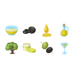 olive food icons in set collection for design vector image