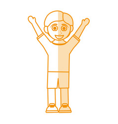 orange silhouette shading caricature boy with open vector image vector image