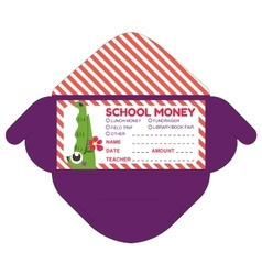 Personalized school money patches with teacher vector
