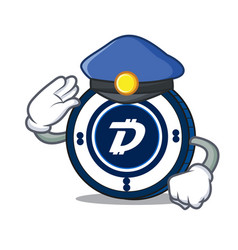 Police digibyte coin character cartoon vector