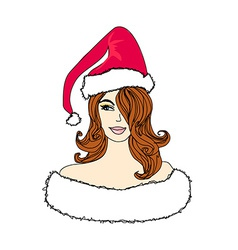 Pretty girl in christmas costume vector