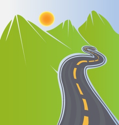 Road and green mountains vector image vector image