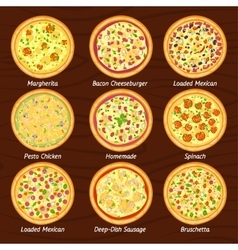 Set of pizza flat icon margherita bruschetta vector image