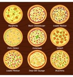 Set of pizza flat icon margherita bruschetta vector image vector image