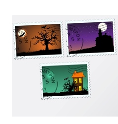 Set of post stamps halloween vector