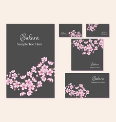 Set of template corporate identity with sakura vector