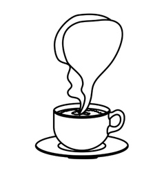 silhouette cup coffee with smoke arom vector image vector image