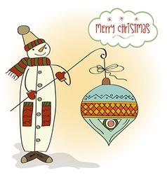 snowman with big Christmas ball vector image