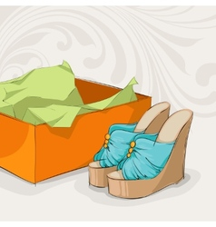 Stylish womans blue sandals vector image