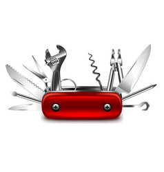 swiss knife isolated on white vector image vector image