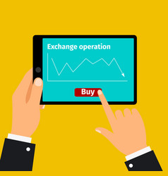 tablet with stock exchange graphic vector image