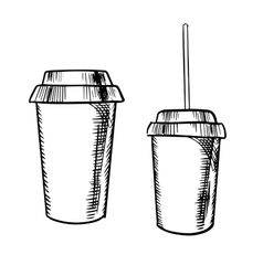 Takeaway coffee and soda drinks sketches vector image
