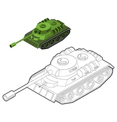 Tank coloring book Army equipment in linear style vector image vector image