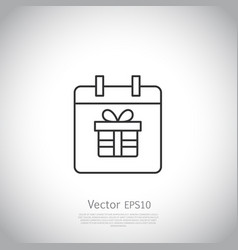 Thin line icon gift box with ribbon inside vector